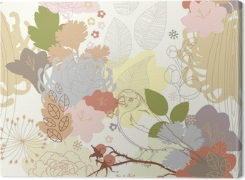 seamless background with abstract botanical ornament Canvas Print