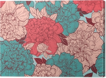 Seamless background with peonies Canvas Print