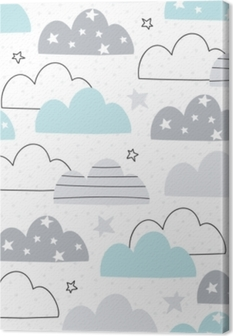 seamless clouds pattern vector illustration Canvas Print