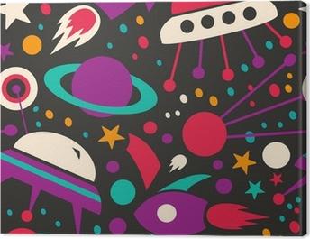 Seamless contrast cosmic pattern Canvas Print