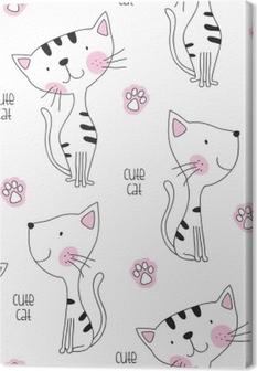 seamless cute cat pattern vector illustration Canvas Print