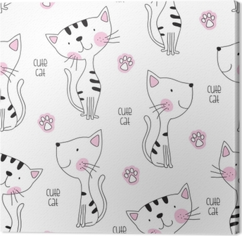 seamless cute cat pattern vector illustration Canvas Print