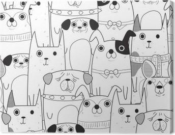 Seamless Dogs pattern Canvas Print