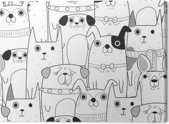 Seamless Dogs pattern Canvas Print