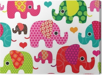Seamless elephant kids pattern background in vector Canvas Print