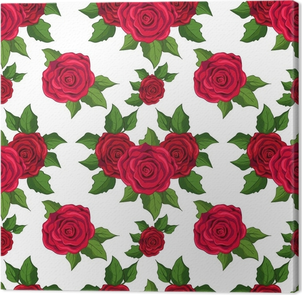 seamless floral pattern wallpaper with red roses on white