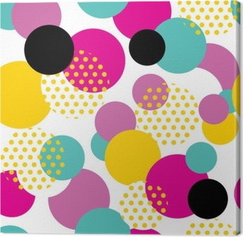 Seamless geometric pattern in retro 80s style. Pop art circle pattern on white background. Canvas Print
