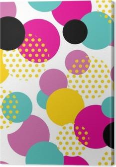 Seamless geometric pattern in retro 80s style. Pop art circle pattern on white background. Canvas Print