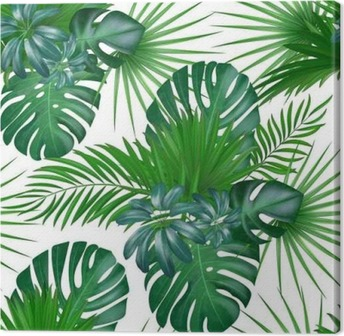Seamless hand drawn realistic botanical exotic vector pattern with green palm leaves isolated on white background. Canvas Print