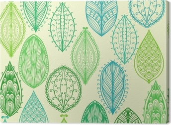 Seamless hand drawn vintage pattern with green ornate leaves Canvas Print