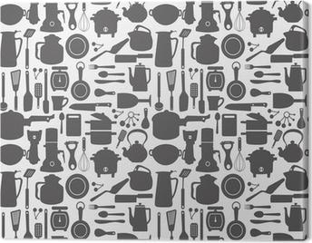 seamless kitchen pattern Canvas Print
