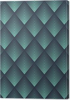 Seamless neon blue op art rhombic chevron blend pattern vector Canvas Print