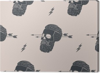 Seamless pattern background of vintage skull hipster with arrow. Graphic design for wrapping paper and fabric texture of shirt. Vector Illustration Canvas Print