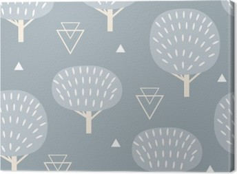 Seamless pattern in modern Scandinavian style. Vector geometry background of north nature. Canvas Print