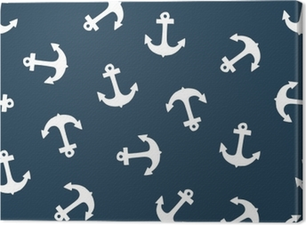 Seamless pattern with anchor. Texture for wallpaper, fills, web page background. Canvas Print