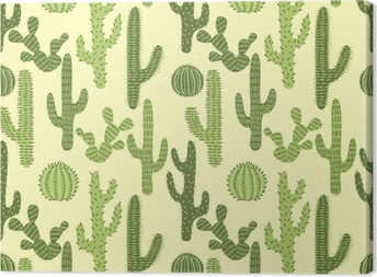Seamless pattern with cactuses #1 Canvas Print