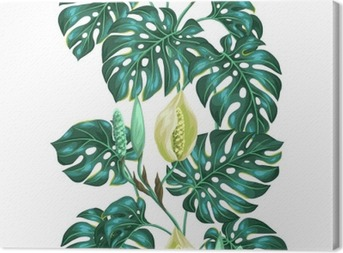 Seamless pattern with monstera leaves. Decorative image of tropical foliage and flower. Background made without clipping mask. Easy to use for backdrop, textile, wrapping paper Canvas Print
