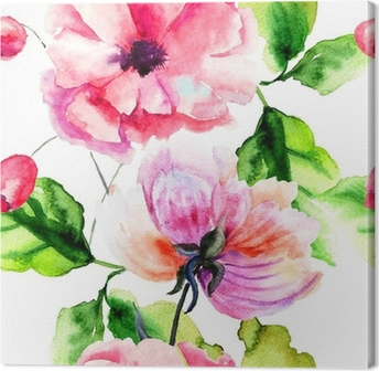 Seamless pattern with Peony and Poppy flowers Canvas Print