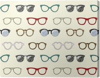 Seamless pattern with retro glasses and frames Canvas Print