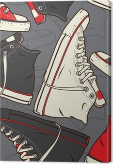 Seamless pattern with sneakers Vector background. Canvas Print