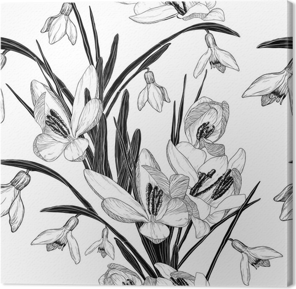 Seamless pattern with snowdrop flowers black and white canvas seamless pattern with snowdrop flowers black and white canvas print mightylinksfo