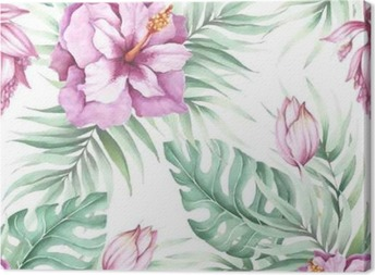 Seamless pattern with tropical flowers. Watercolor illustration. Canvas Print