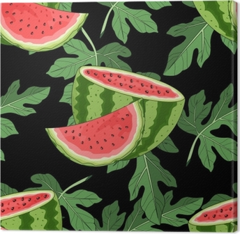 Seamless pattern with watermelon and tropical leaves in the background. Vector illustration. Canvas Print