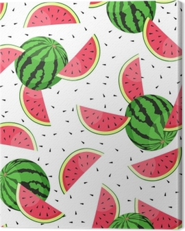 Seamless pattern with watermelon slices. Vector illustration. Canvas Print