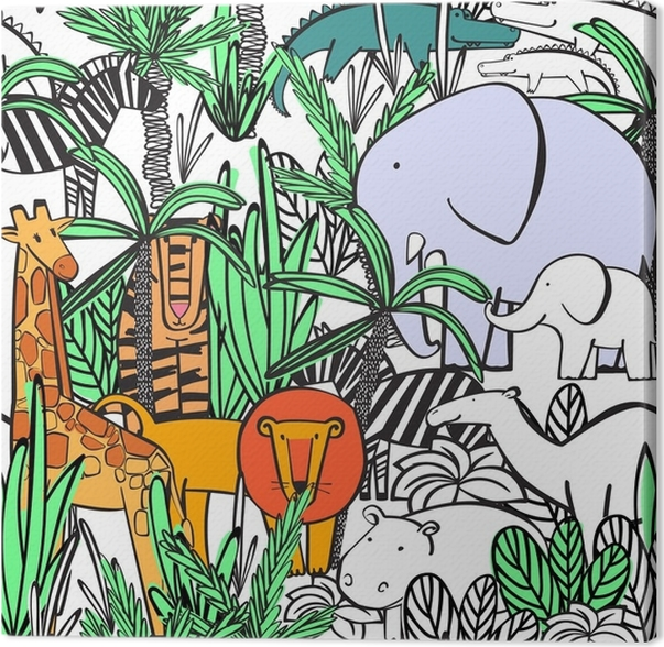 Seamless Pattern With Wild Animals Of The Jungle Thickets Elephant Zebra Camel Tiger Lion Giraffe Crocodile Hippopotamus Coloring