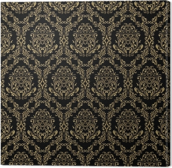 Seamless retro wallpaper in victorian style: gold on black. Canvas Print