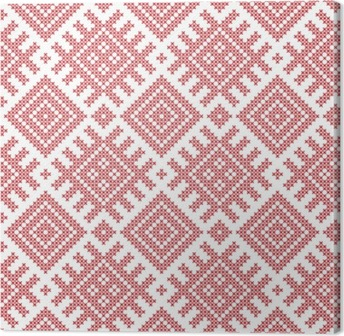 Seamless Russian folk pattern, cross-stitched embroidery imitation. Patterns consist of ancient Slavic amulets. Swatch included in vector file. Canvas Print