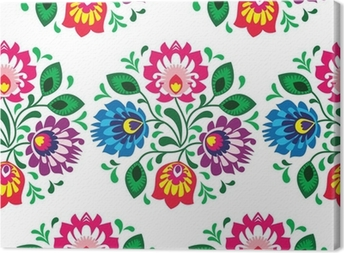 Seamless traditional floral pattern from Poland on white Canvas Print