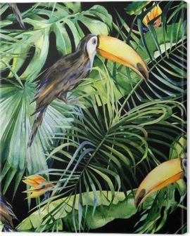 Seamless watercolor illustration of toucan bird. Ramphastos. Tropical leaves, dense jungle. Strelitzia reginae flower. Hand painted. Pattern with tropic summertime motif. Coconut palm leaves. Canvas Print