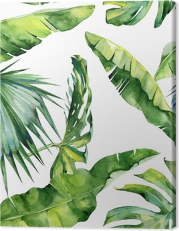 Seamless watercolor illustration of tropical leaves, dense jungle. Pattern with tropic summertime motif may be used as background texture, wrapping paper, textile,wallpaper design. Canvas Print
