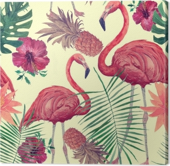Seamless watercolor pattern with flamingo, leaves, flowers. Hanad drawn . Canvas Print