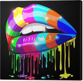 Sensual Lips Psychedelic Paint-Bocca Sensuale Psichedelica Canvas Print