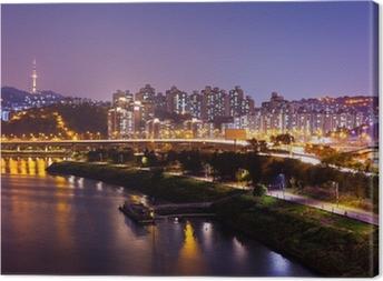 Seoul city at night Canvas Print