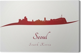 Seoul skyline in red Canvas Print