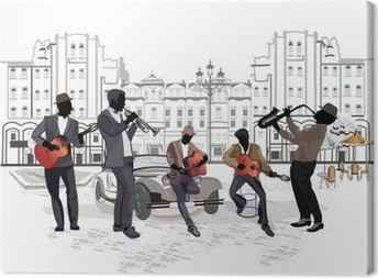 Series of street views with musicians Canvas Print