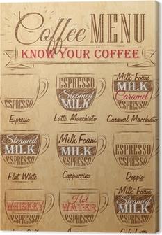 SeSet of coffee menu drawing chalk. Vintage. Canvas Print