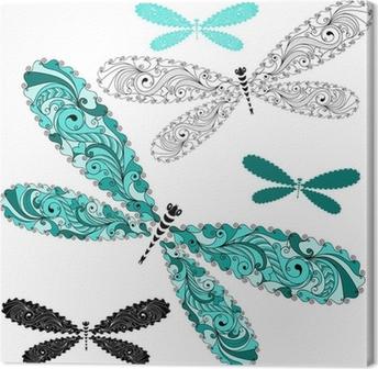 Set lace vintage dragonflies Canvas Print