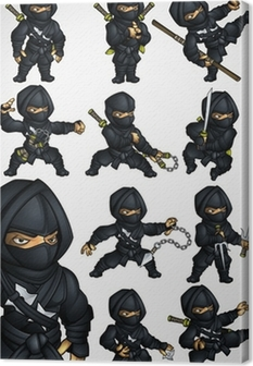 Set of 11 Ninja poses in a black suit Canvas Print