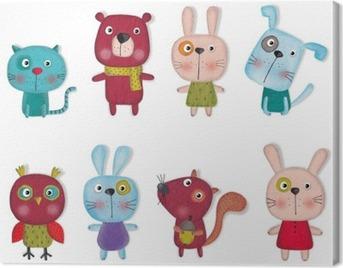 Set of cartoon pets Canvas Print