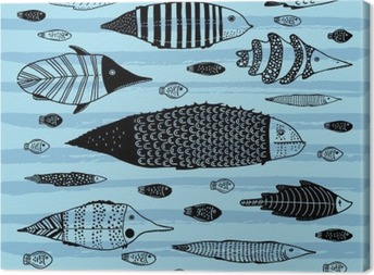 Set of funny fishes. Canvas Print