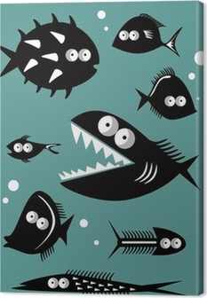 Set of funny fishes Canvas Print