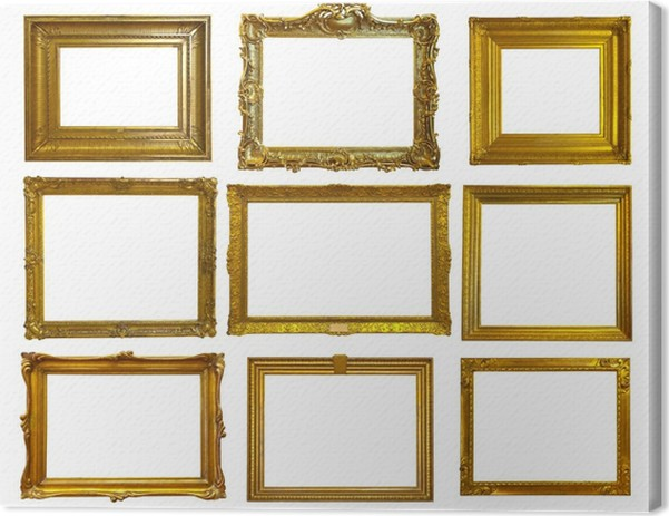 Set of gold picture frames. Canvas Print • Pixers® • We live to change