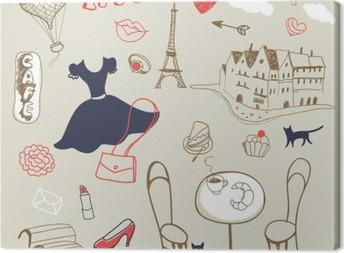 set of hand drawn symbols of Paris Canvas Print