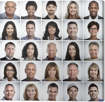 Set of smiling people face. Canvas Print