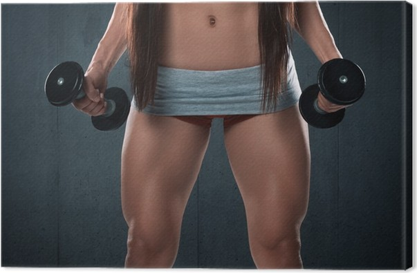 Sexy athletic woman with muscular legs. Fitness girl Canvas Print ...