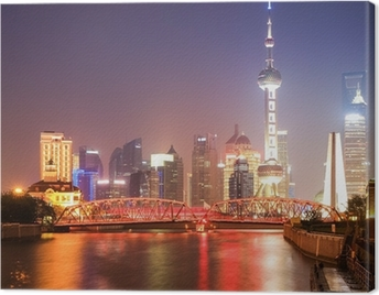 shanghai garden bridge at night Canvas Print